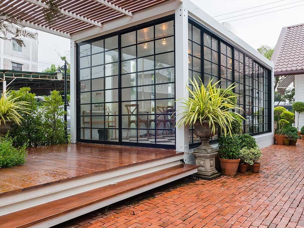Big steel windows in garden