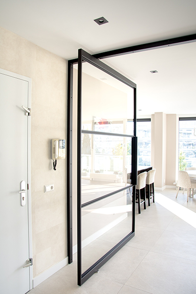 Big black steel doors in apartmant